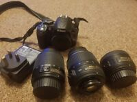 Nikon D3100 with three lenses and bag!!! Not Canon 1100d, Canon 550D