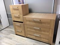 Bedroom units, big chest of drawers and 2 bedside units, ex display in OAK
