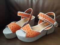 New Miz Mooz Orange Platform Sandals