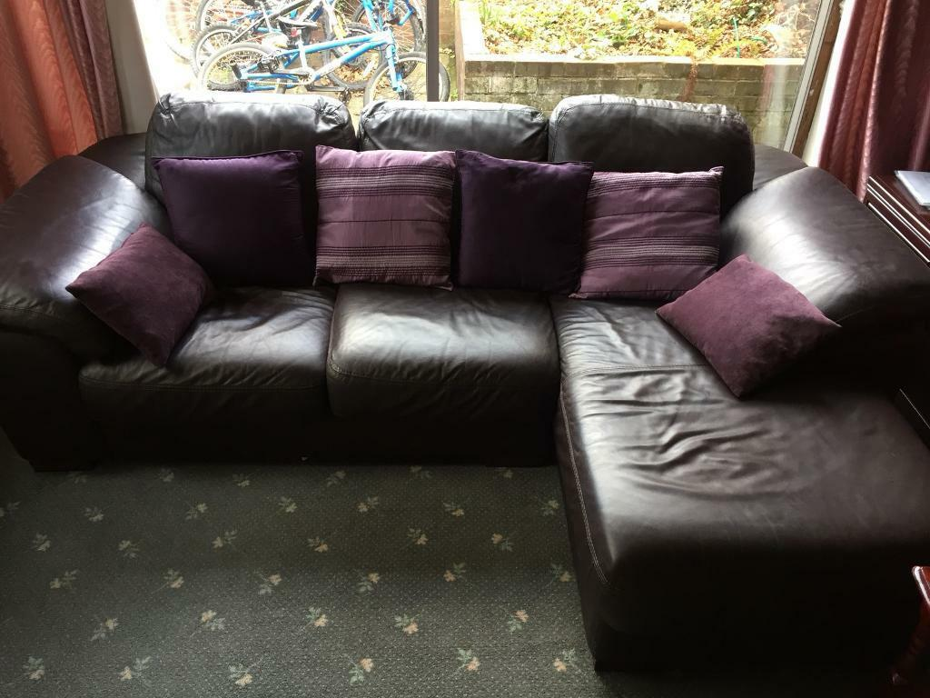 Brown leather corner sofa+delivery available