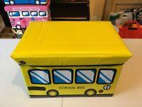 School bus design kids foldable storage box