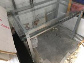 Glass Top Table, Metal frame
