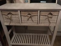 Vintage White wooden side board unit with storage