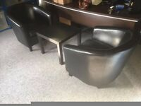 2 Faux Leather Black Office Chairs & Ikea Coffee Table