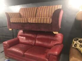 Fabric and leather 2 seater sofas £125 each