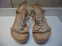 Womens Ladies Beige Diamante Mid Wedge Heel Shoes Sandals Size UK 4,5,7,8 New