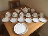 Wedgwood Mirabelle Tea Service Bone China 6 Place Settings Purchased in 1980 Never been used.