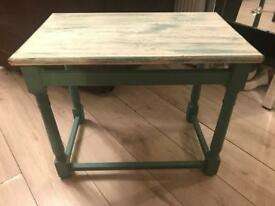 Small teal wooden table
