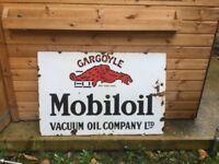 Gargoyle mobiloil enamel sign