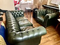 3 Seater Forest Green Chesterfield Sofa and Armchair for sale