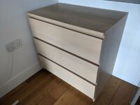 IKEA Malm chest of drawers, white stained oak (3 drawers)