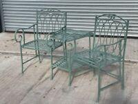Pistachio Green Rustic Lovers Garden Seat Bench (New, Second)