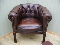 Stunning Brown Leather Chesterfield Tub Chair