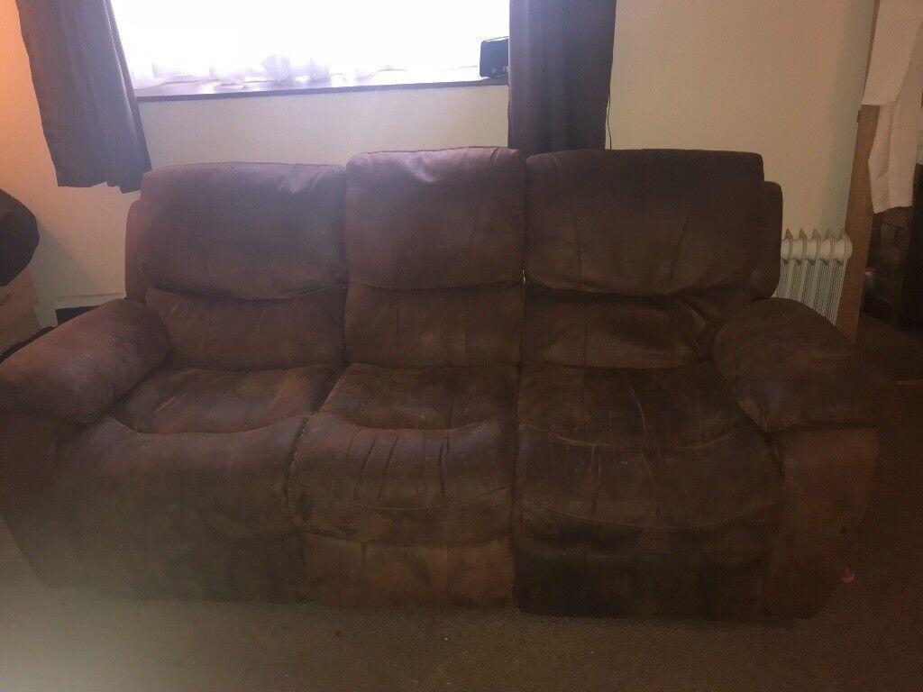 Dark brown 3 seater recliner sofa