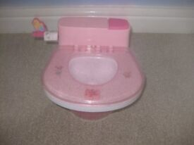 BABY BORN INTERACTIVE TOILET pink + sounds - unwanted present - IMMACULATE CONDITION only £9.50