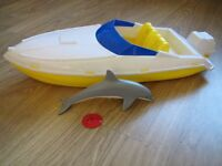 Barbie Corvette and Barbie Baywatch Motorboat with dolphin and frisbee