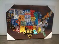Printed USA license plate canvas