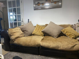 SOFA. GENUIME LEATHER ARMS AND BACK. DUCK DOWN CUSHIONS