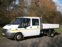 2008(08) FORD TRANSIT T350 140bhp LWB CREW CAB TIPPER, ONE STOP ALLOY BODY, WORKHORSE READY TO GO