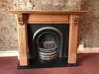 Period Fireplace cast iron with wood surround