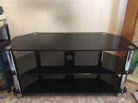 Black glass and crome 3 tier tv stand fits 50 inch tv