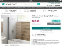 Bath shower screen in box from'Soak'