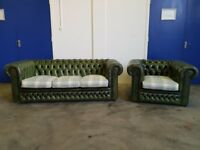 ANTIQUE GREEN LEATHER CHESTERFIELD LOUNGE SUITE / 3 SEATER SOFA & CLUB CHAIR / ARMCHAIR CAN DELIVER