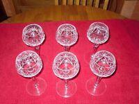 A set of 6 Crystal Hock Glasses