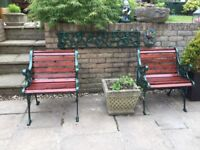 Pair (2) Traditional Wrought Iron Garden Chairs