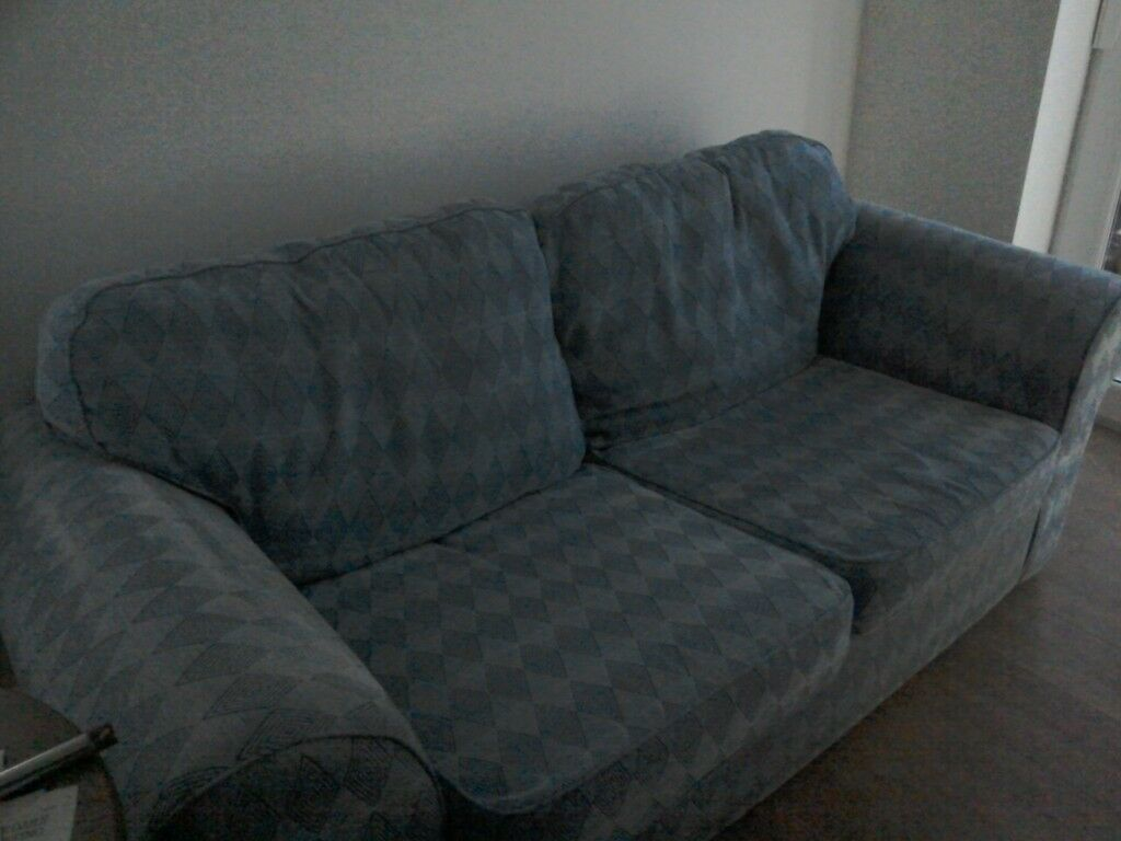 Sofa Bed In Blue Velour Metal Action In Swansea Gumtree