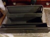 CANTILEVER GREY METAL TOOLBOX 44CM L X 18CM W X 18CM T IN VERY GOOD CONDITION