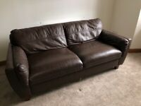 Leather 2 seater sofa/couch brown
