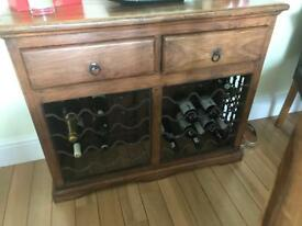 Solid wooden wine rack with drawers at the top