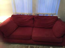 Red sofas 2 seater and 3 seater
