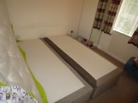 New divan super-king bed with springs and storage drawers or two single beds