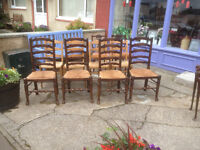 Pretty Set of 4 Antique Style Elm & Ash Wavy High Ladder Back Rush Seated Dining Chairs