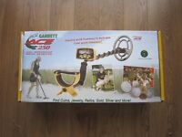 Garrett Ace 250 Metal detector boxed with DD Coil, headphones great condition.