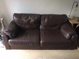 Large Brown Leather Sofa - BARGAIN!