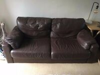 Large Brown Leather Sofa - BARGAIN!