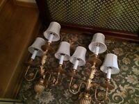 Modern wall lights with antique golden effect