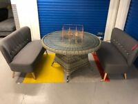 New! Ex-display John Lewis Dante Outdoor 4 seater round table with glass top - RRP £318