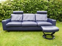 Stunning Stressless Suite 'Emma 200' Sofa and Matching Footstool.
