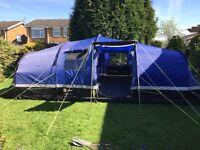 6 person tent, porch, carpet, windbreakers