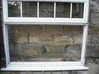 """UPVC White partial glazed window frame & cill 42"""" H x 48"""" W Georgian Bar to glazed top opener"""