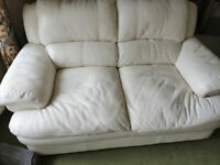 2 seater thick leather sofa in ivory