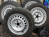 VW T5 Transporter Steel Wheels with VW centers and Tyres