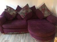 Grey and purple fabric corner sofa