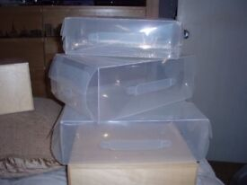 Shoe & boot storage boxes, 3 different sizes, 17 in total for sale used