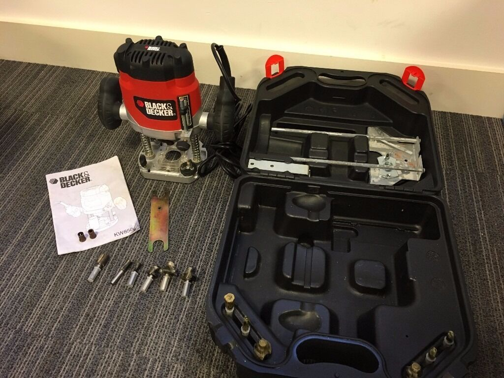 black and decker router. black \u0026 decker kw850e plunge router, accessories and carry case. excellent condition router r