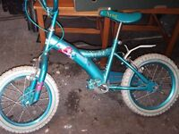 Girls Ariel Bike - blue with stabilizers good for age 3 to 5 years